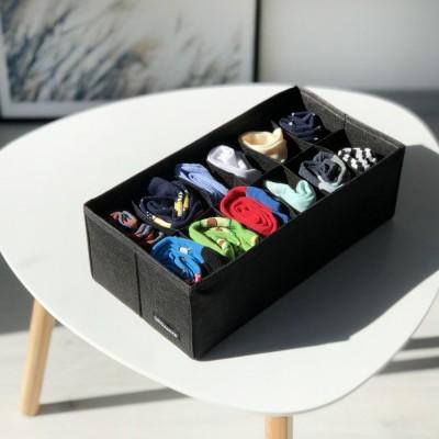 Купить компактный органайзер на 12 ячеек 30*15*10см (черный)