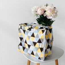 Средняя хлопковая сумка для вещей 30*27*12 см (треугольники)