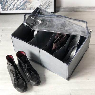 Купить коробку для хранения обуви на 4 пары 48*34*20 см (серый)