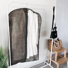 Чехол флизелиновый для одежды с прозрачной вставкой длиной 100 см (серый)