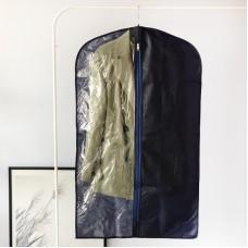 Чехол флизелиновый для одежды с прозрачной вставкой длиной 100 см (синий)