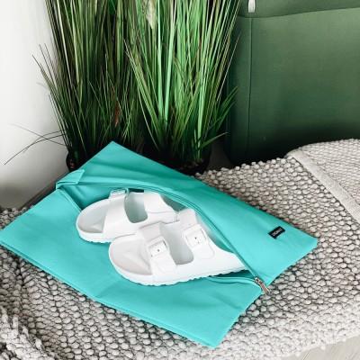 Купить объемную сумку-пыльник для обуви на молнии 40*30*10 см (лазурь)