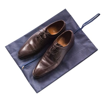 Купить объемную сумку-пыльник для обуви на молнии 40*30*10 см (синий)