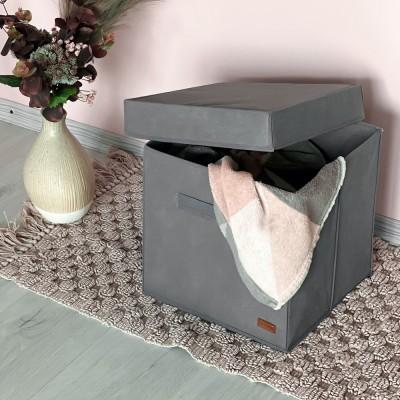 Купить текстильный кофр с крышкой 30*30*30 см (серый)