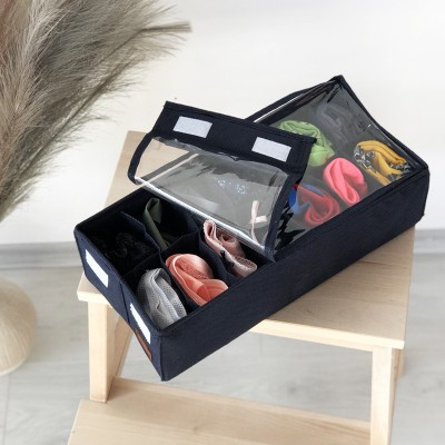 Купить коробочку с крышкой для носков и трусов 35*17*10см (джинс)