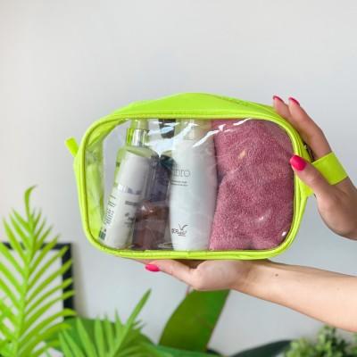 Купить большую прозрачную косметичку 22*15*8 см (неон)