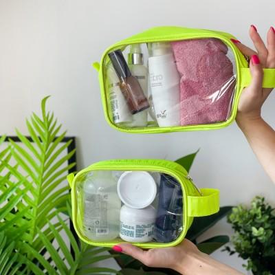 Купить комплект прозрачных косметичек (неон)