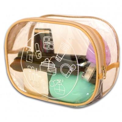 Купить прозрачную косметичку для бассейна/сауны/путешествий (бежевый)