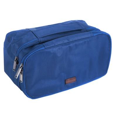 Купить двухуровневый дорожный органайзер-косметичка (синий)
