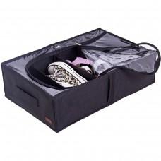 Текстильный кофр для хранения вещей на 4 отдела со съемными перегородками (черный)