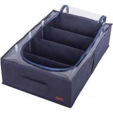 Текстильный кофр для хранения вещей на 4 отдела со съемными перегородками (джинс)
