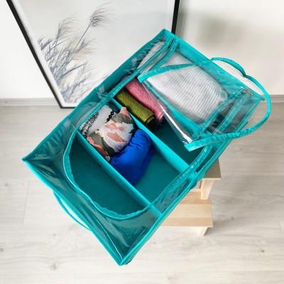 Купить короб для хранения вещей с тремя съемными перегородками 53*35*14 см (лазурь)