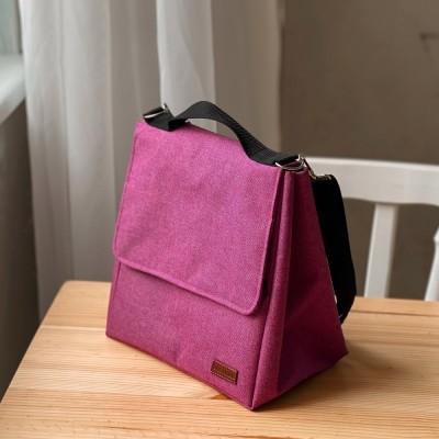 Купить ланчбег с двумя судочками 24*21*15см (розовый)