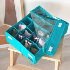 Коробка для трусов с крышкой 20 ячеек 35*28*10 см(лазурь)