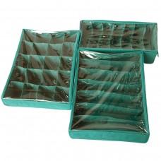 Набор органайзеров с крышками для нижнего белья 3 шт (лазурь)