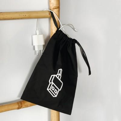 Мешок хлопковый для зарядок и гаджетов 20*30 см Gadget (черный)