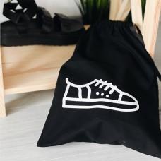 Мешок хлопковый для обуви 30*35 см Shoes (черный)