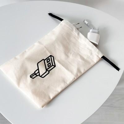 Мешок хлопковый для зарядок и гаджетов 20*30 см Gadget (светлый)