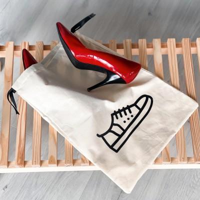 Мешок хлопковый для обуви 30*35 см Shoes (светлый)