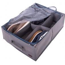 Органайзер для обуви с прозрачной крышкой на 6 пар 53*40*15 см (серый)