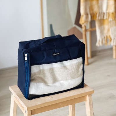 Купить среднюю дорожную сумку для вещей 30*27*12 см (синий)