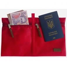 Дорожный органайзер для документов и билетов (красный)