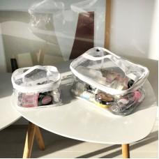 Набор прозрачных косметичек 2 шт (белый)