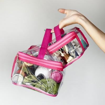 Купить набор прозрачных косметичек 2 шт (розовый)