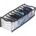 Прозрачный органайзер на 10 ячеек S - 15*39*9 см (черный)