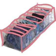 Прозрачный органайзер на 10 ячеек S (розовый)