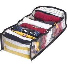 Прозрачный органайзер для хранения детской одежды M - 20*39*9 см (черный)