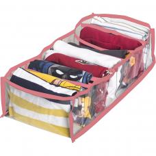 Прозрачный органайзер для хранения детской одежды M (розовый)