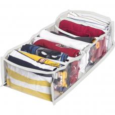 Прозрачный органайзер для хранения детской одежды M - 20*39*9 см (белый)