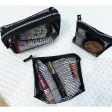 Комплект косметичек из сетки 3 шт (черный)